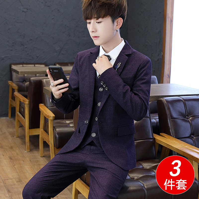 Wedding suits men's self-cultivation Korean version of the trend of casual business British style wedding groom formal suits
