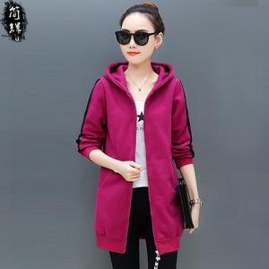 加肥加大码女装韩版秋冬装中长款开衫外套学生加厚加绒卫衣带帽衫