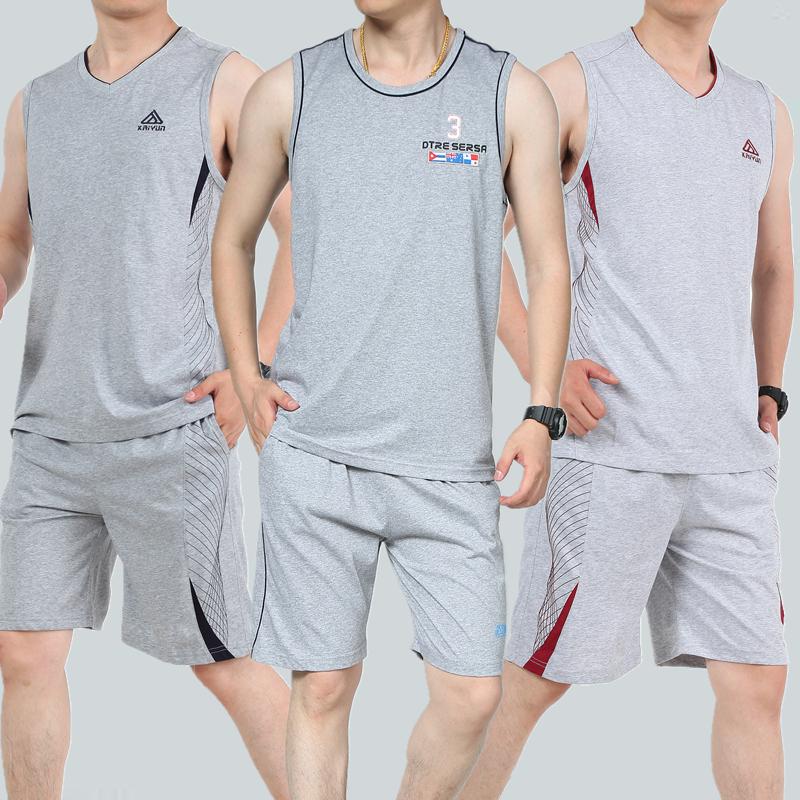 夏季套装男士宽松大码中年跑步健身休闲运动衣服爸爸背心短裤一套