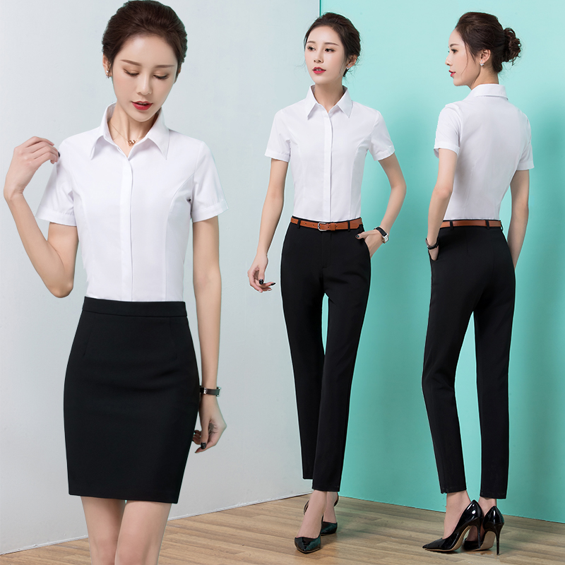 ce1e714f6ad 2019 summer new fashion short-sleeved shirt female professional suit  two-piece overalls dress interview suit skirt