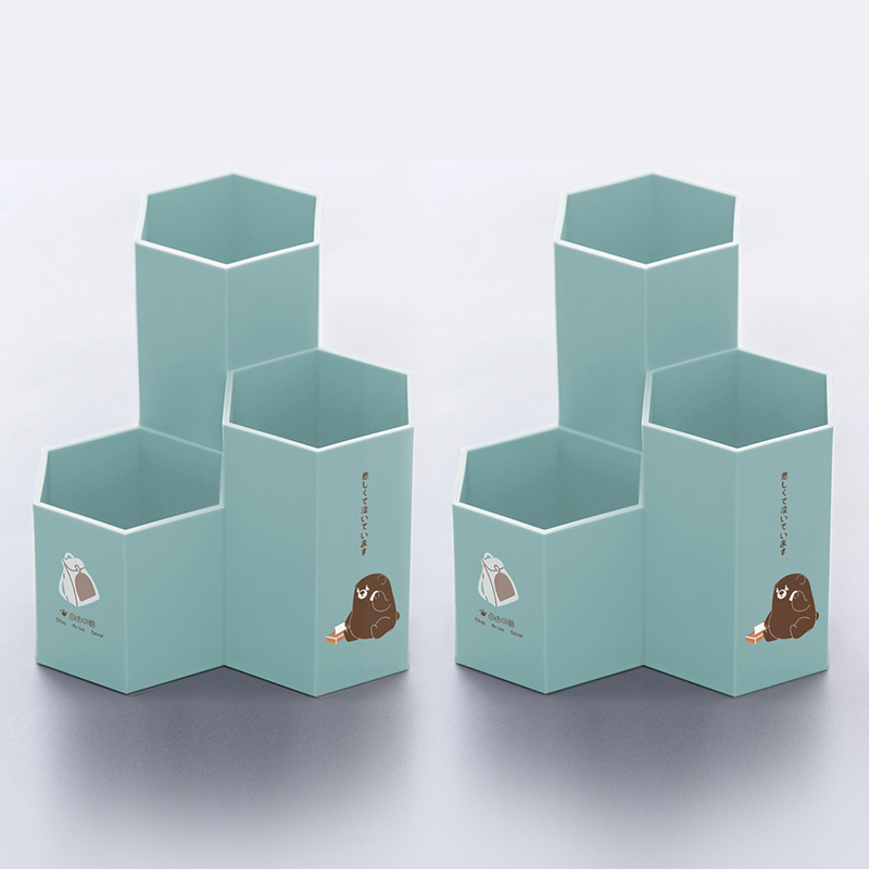 Hexagon Pen Holder - Free Bear - Blue (thick Material) 2 Pack