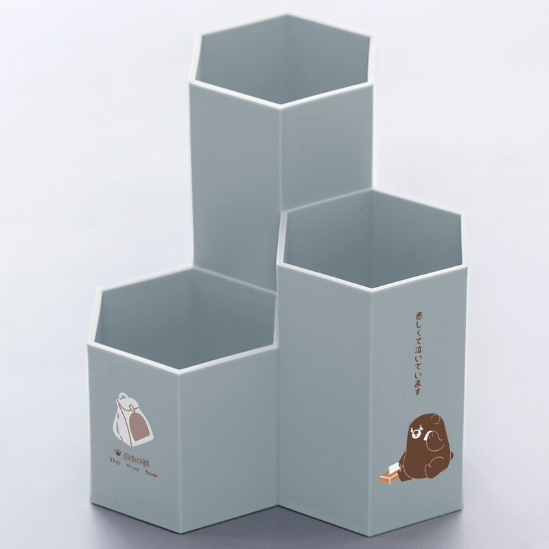 Hexagon Pen Holder - Free Bear - Gray (thick Material) Single