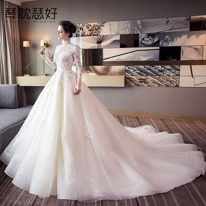 Long Tail Wedding Dress 2018 New Bride Sleeved Collar Was Thin Princess