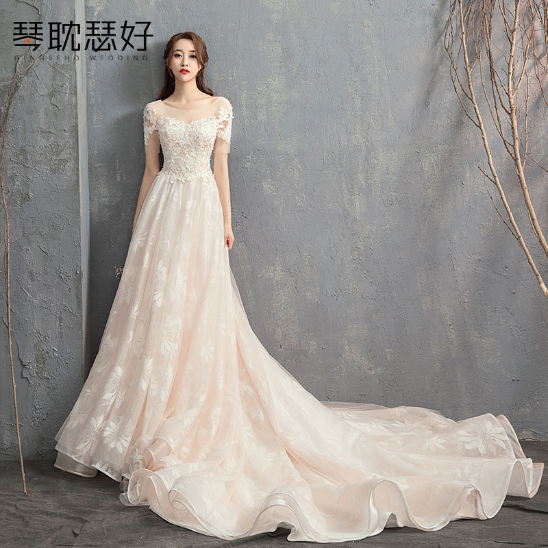 Light Wedding 2019 New Korean Petal Simple Bride Wedding Dress Tailed Star Shivering Luxury Hepburn Female