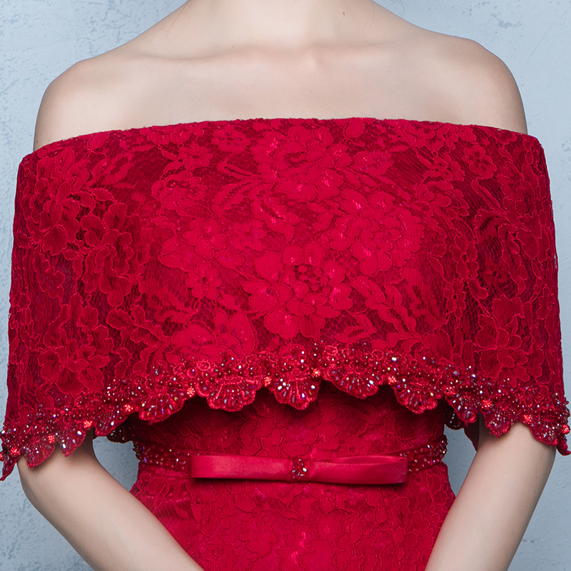 Вечерние платья Тост одежды Свадебные 2018 новая весна слово плечо длинный участок был тонкий красный брак признательность банкет вечернее платье юбка женщина