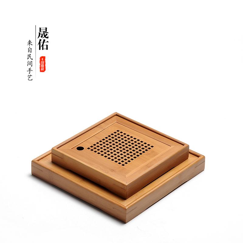 Shengyou tre nhỏ khay trà vuông khô bong bóng khay nhỏ tre nhỏ nước lưu trữ khay trà Haitai Kungfu bộ trà - Trà sứ