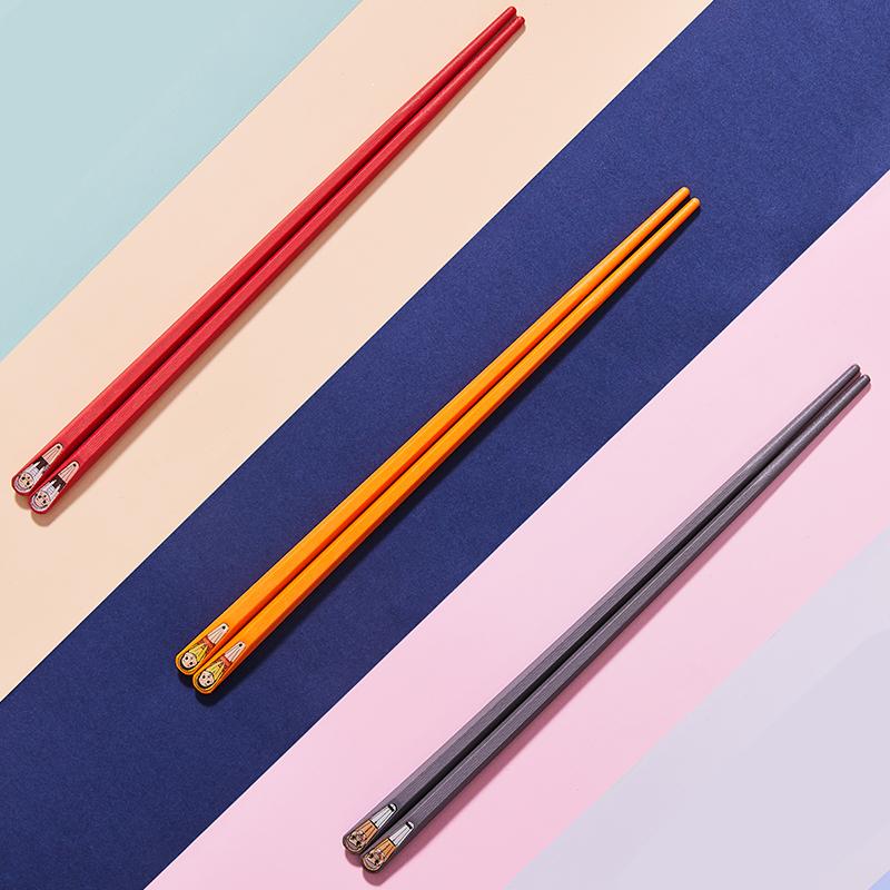 铸派合金筷子防滑防霉一人一色一筷一双家用可爱套装家庭分人高档
