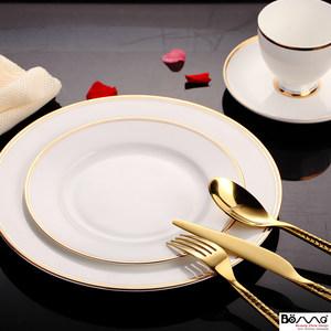 欧式金边圆形骨瓷白色盘西餐餐具陶瓷盘子碗咖啡杯套装会所牛排盘