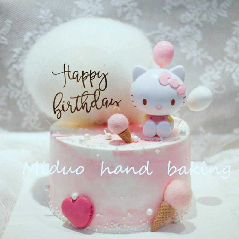 Bánh trang trí bông trang trí cô gái trái tim mèo sinh nhật bánh trang trí phim hoạt hình công chúa trên cửa hàng trang trí xin chào - Trang trí nội thất