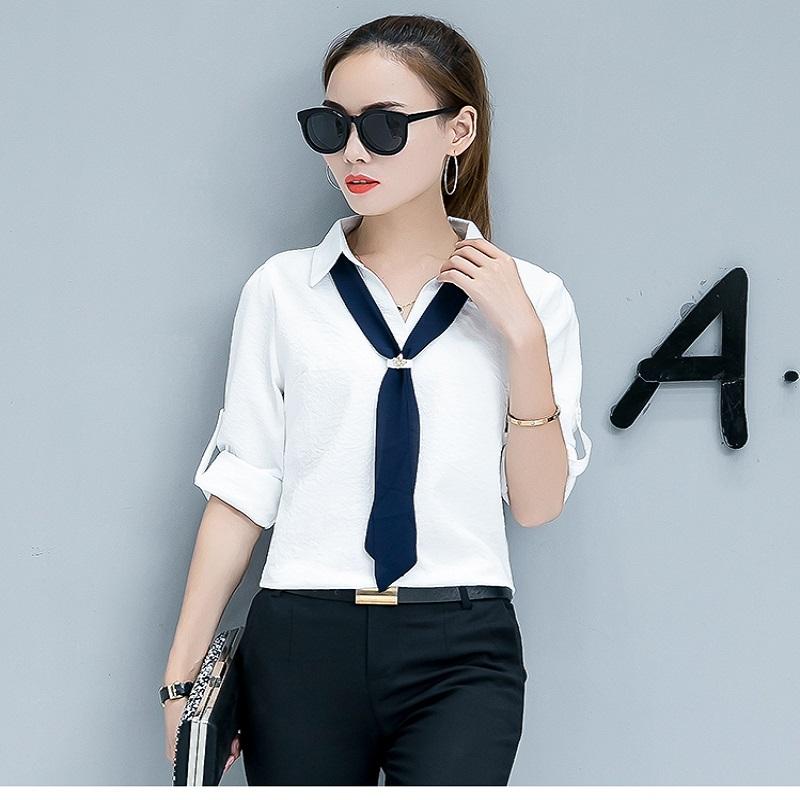 新款秋季衬衫休闲气质上衣职业修身长袖白色女装47