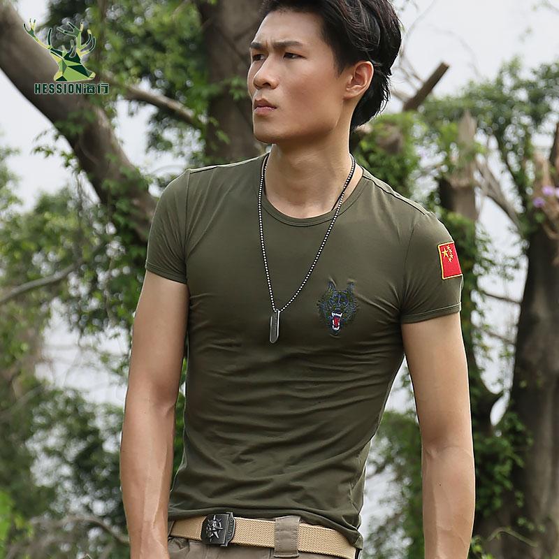 印有中国国旗的t恤 战友聚会t恤 国旗狼头短袖t恤男 衣服刺绣订制