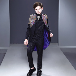Boy's jazz dance sequin coats chorus host singer performance jacket blazers children performance British style piano tuxedo fashion show suit host