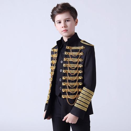 Boy's jazz dance sequin coats chorus host singer performance jacket blazers Boy dress suit suit children model show flower boy suit boy host piano performance suit