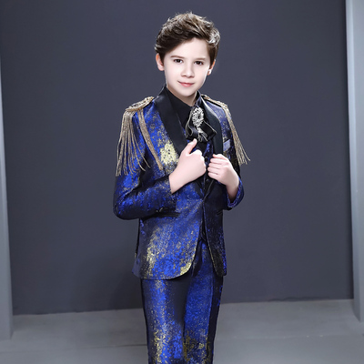 Boy's jazz dance sequin coats chorus host singer performance jacket blazers Children suit handsome British flower boy suit host model show piano performance