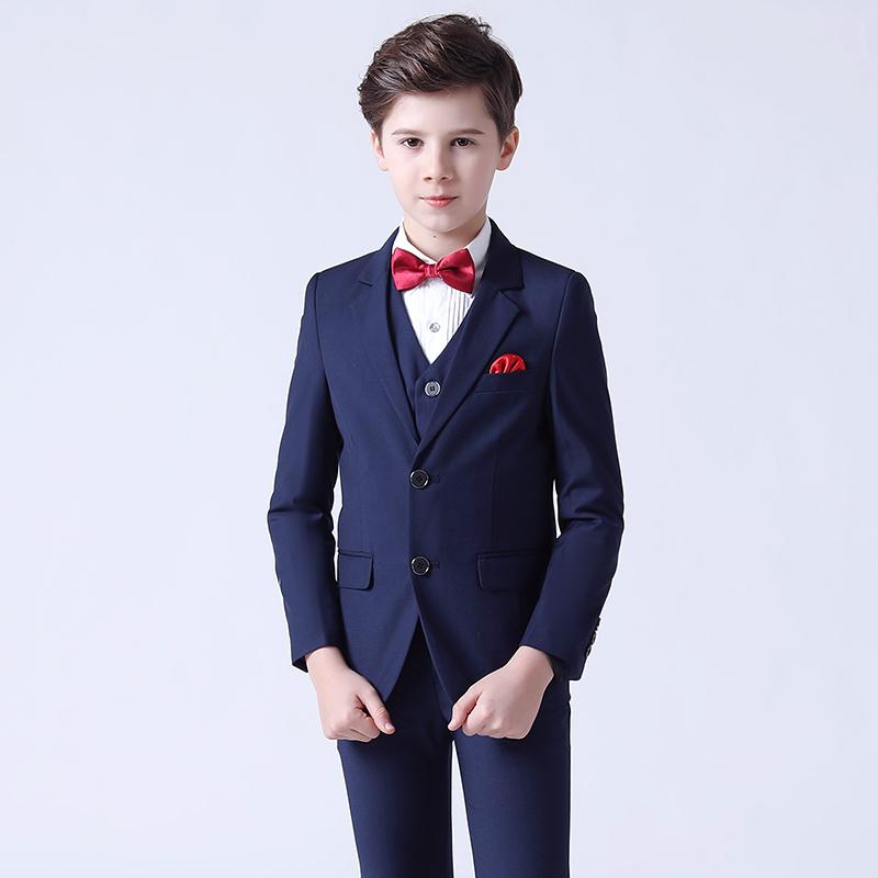 Boy's jazz dance sequin coats chorus host singer performance jacket blazers Children suit 3-piece set handsome British little suit boy