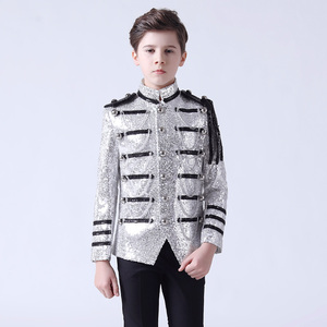 Boy's jazz dance sequin coats chorus host singer performance jacket blazers Flower boy dress suit stand collar children suit
