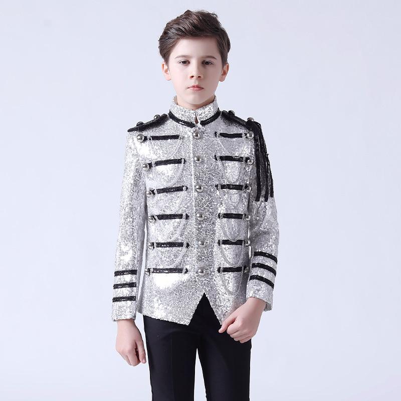 Boy's jazz dance sequin coats chorus host singer performance jacket blazers Flower boy dress suit stand collar children suit