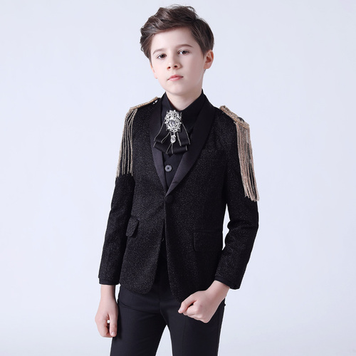 Boy's jazz dance sequin coats chorus host singer performance jacket blazers Children suit handsome British flower boy three piece suit