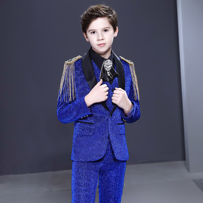 Boy's jazz dance sequin coats chorus host singer performance jacket blazers Boys suit three piece set handsome British flower dress children suit model show host