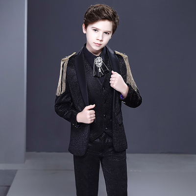 Boy's jazz dance sequin coats chorus host singer performance jacket blazers Children suit, handsome piano performance suit boy show fashion British host suit