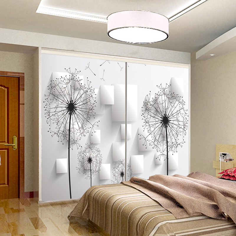 Glass Sticker Wardrobe Door Sliding Stained Foil Tv Background Wall Minimalist Modern Abstract Dandelion