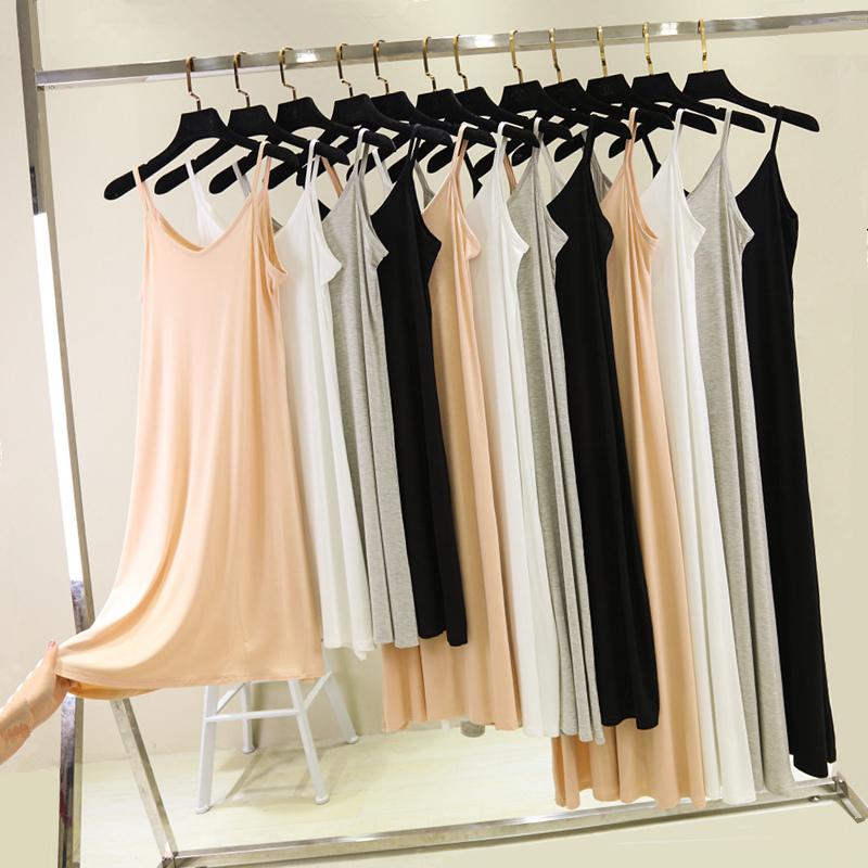 Слинг-платье было тонкой нижней юбкой женский v шеи Мо поколение Длинная юбка без Платье-рукав большой размер фасон средней длины стиль Внутри скольжения