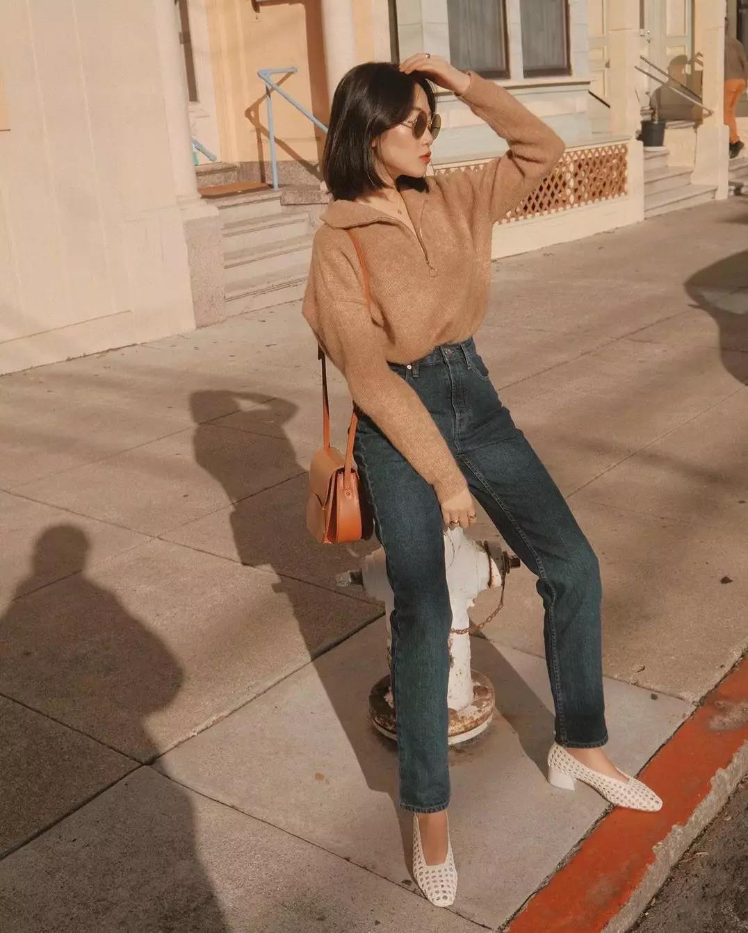 毛衣+铅笔裤的搭配,时尚又显瘦!