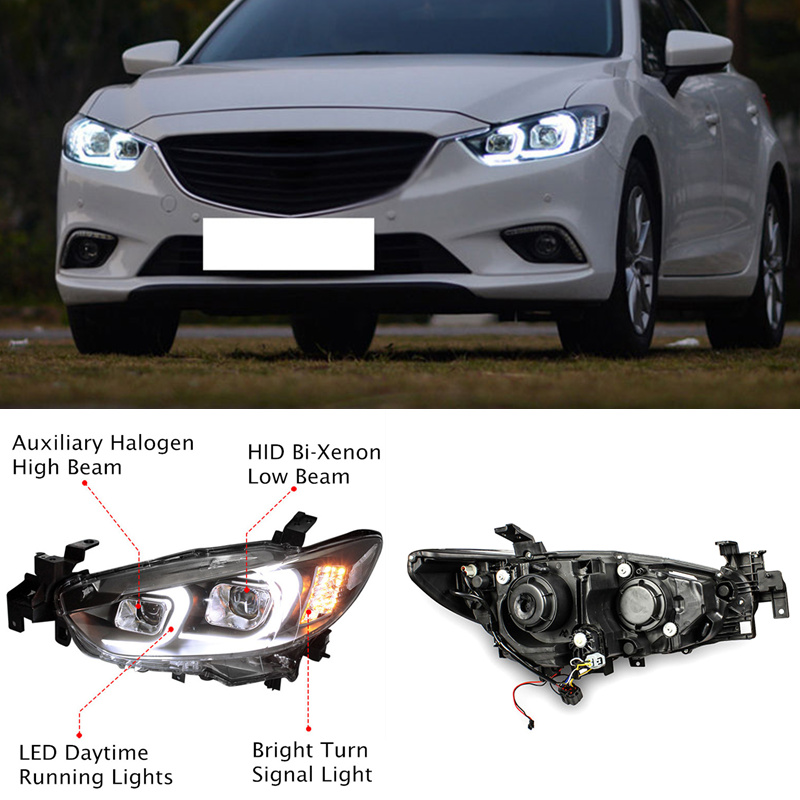 Xenon Headlight Led Drl Lens For Mazda 6 2014 2017 North American