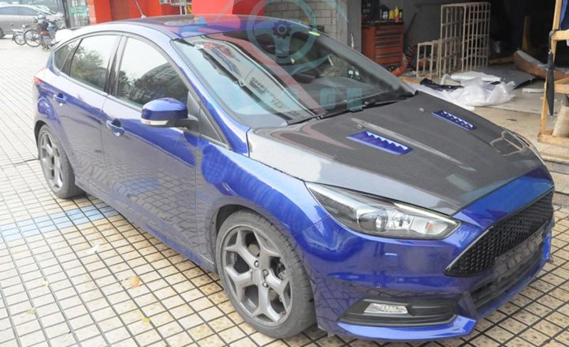 Black Carbon Fiber Blue Outlet Hood Modified For Ford Focus 2017