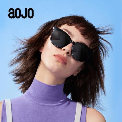 aojo太阳镜 SA1919072板材酷感大气方圆框男女款偏光黑框遮脸墨镜