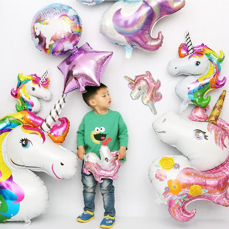 节日宝宝装饰飞马铝膜气球生日装饰儿童周岁派对布置独角兽气球