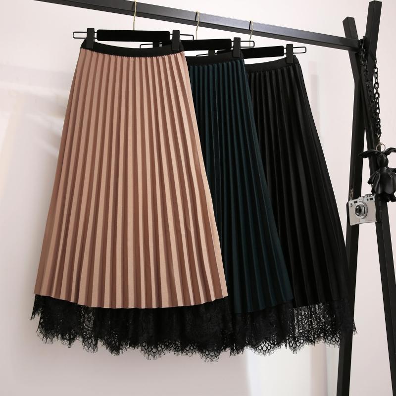大码女装秋冬新款高腰金丝绒拼接蕾丝两面穿半身裙胖mm显瘦百褶裙