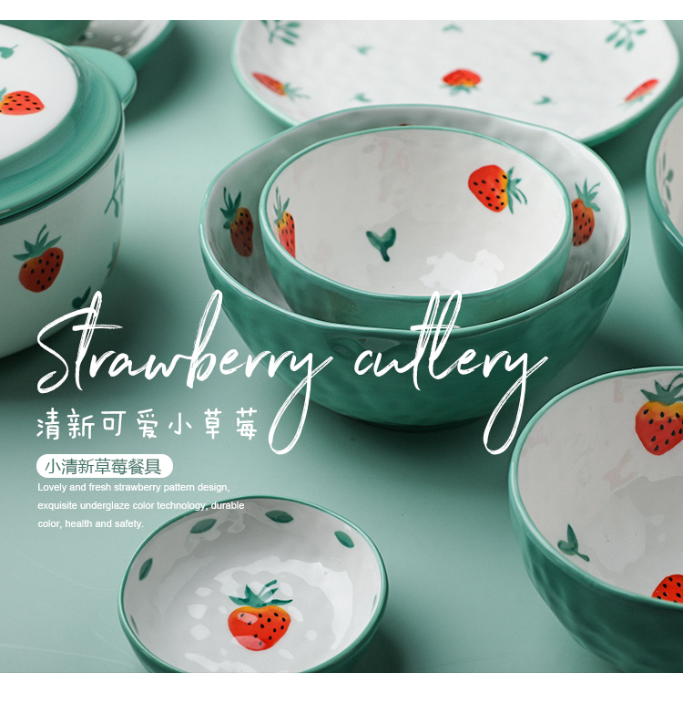 Creative, lovely strawberry ceramic tableware suit small and pure and fresh baking bowl meal disk bowl of breakfast tray