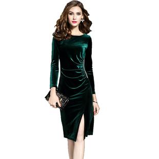 新款金丝绒修身显瘦收腰连衣裙