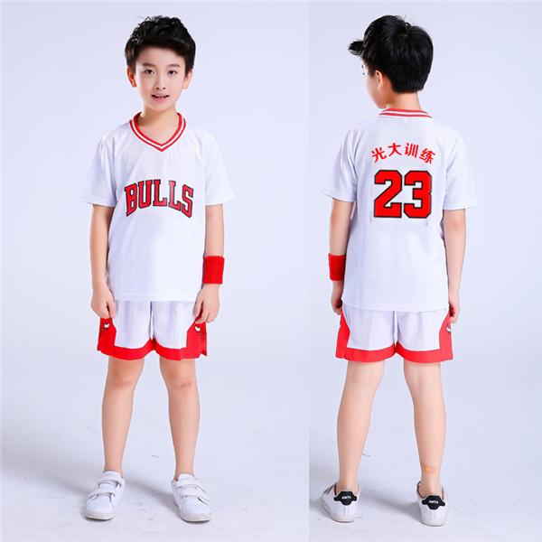 b9c937b40fd Children's basketball uniforms boys and girls training short-sleeved jersey  suits custom kindergarten primary school youth ...
