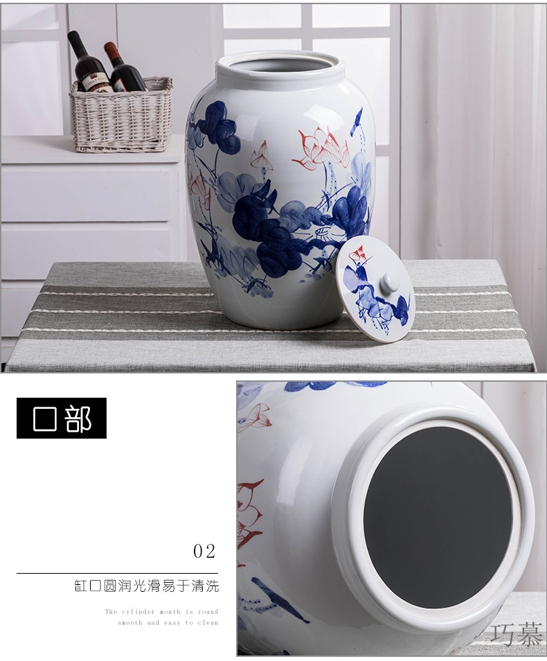 Qiao mu jingdezhen ceramic barrel with cover feng shui home 50 kg insect - resistant large capacity storage tank of rice flour