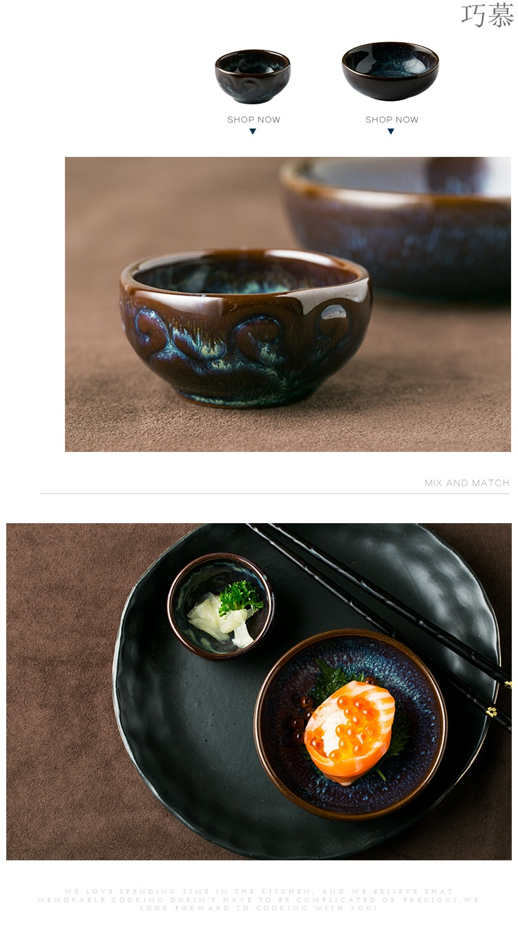 Qiao mu DY ceramic vinegar dish of soy sauce flavor dish peacock grain small bowl disc and disc ceramic dishes suit snacks