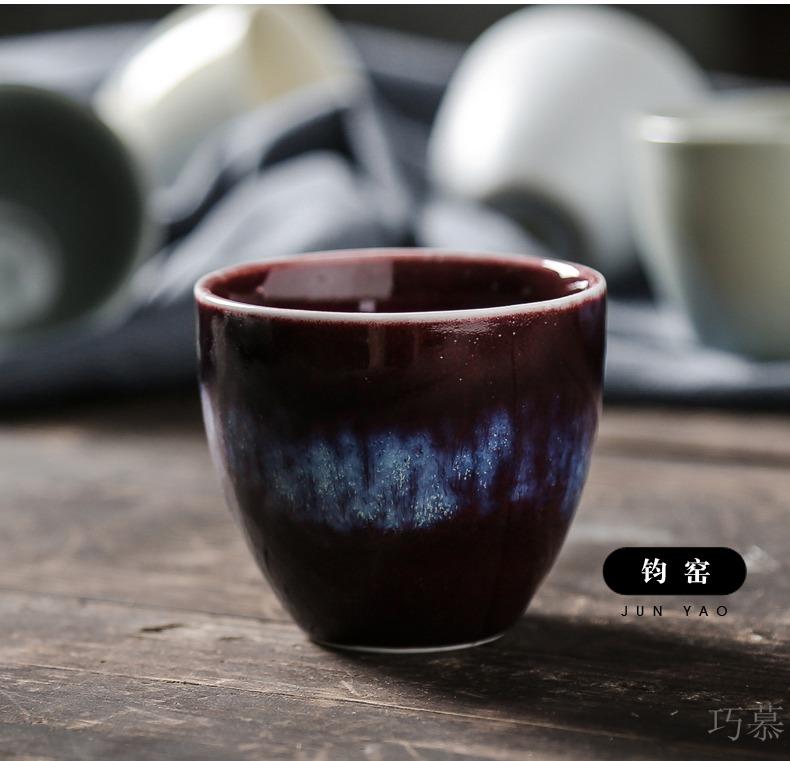 Five ancient jun qiao mu TN sample tea cup kung fu tea tea cups ceramic bowl, individual cup of water glass cup