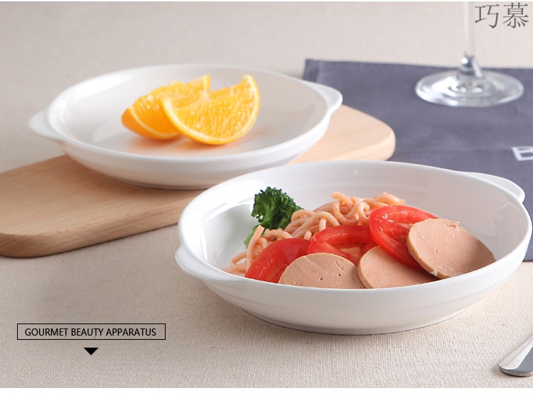 Qiao mu pure white ceramic plate deep ears steamed abalone microwave household utensils solid - colored Japanese cuisine dishes