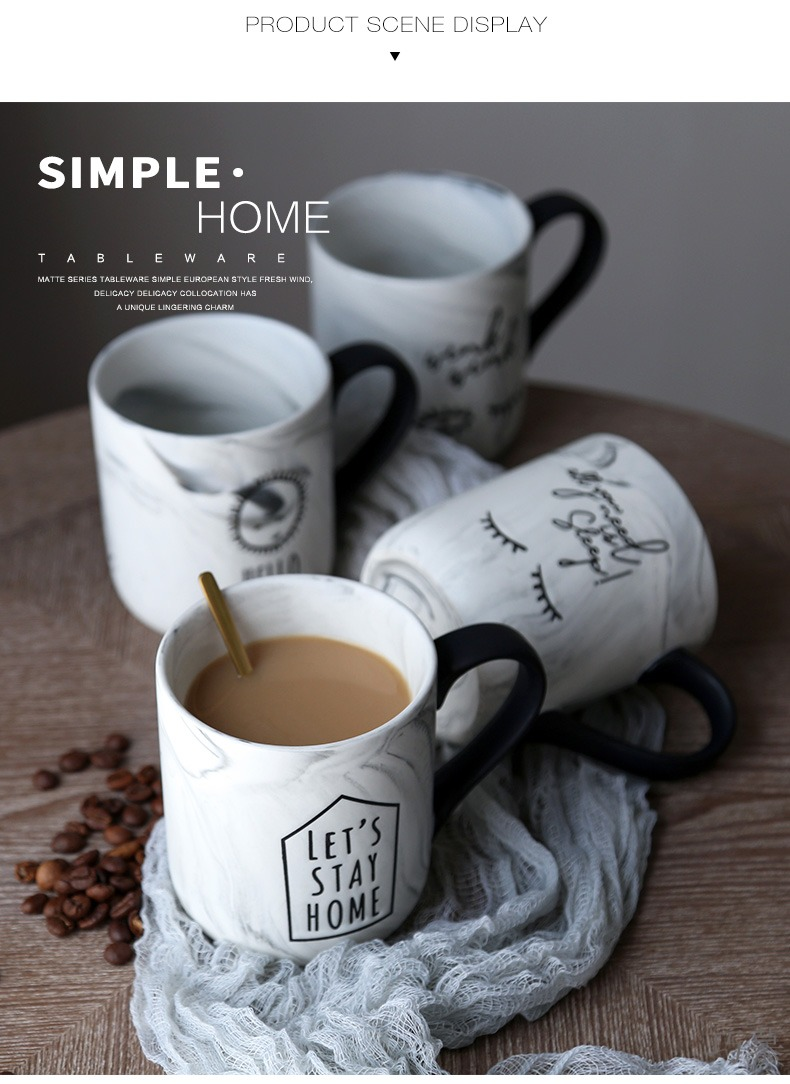 Qiao mu ceramic keller cup ins simple office new coffee marble large capacity of men and women
