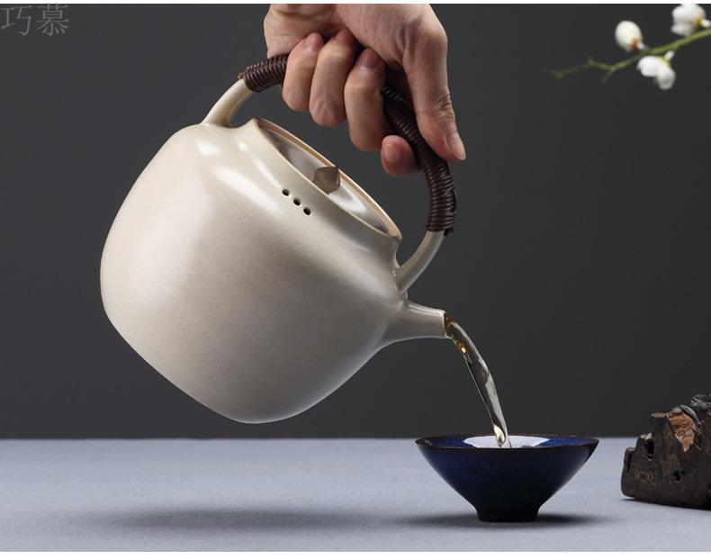 Qiao mu kettle jingdezhen TaoMingTang soda glaze tea set single pot of household electrical TaoLu girder pot of white clay ceramic POTS