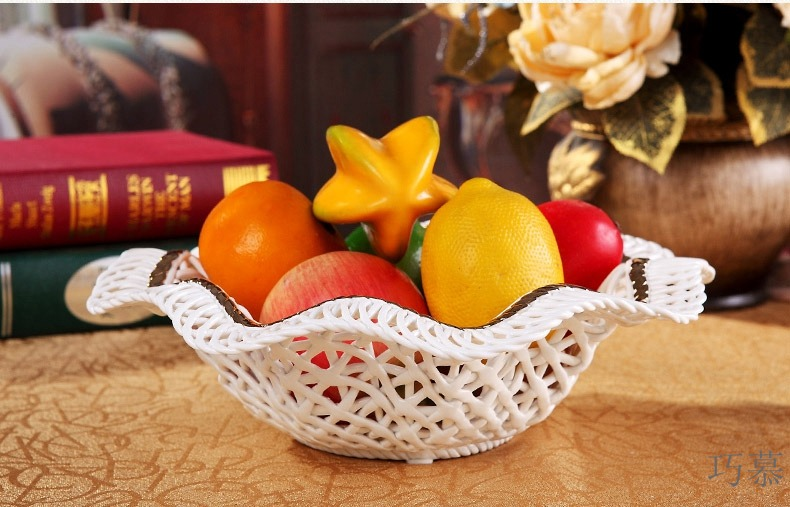 Qiao mu ou compote ceramic fruit bowl sitting room modern creative palace restoring ancient ways of fruit bowl of dried fruit tray