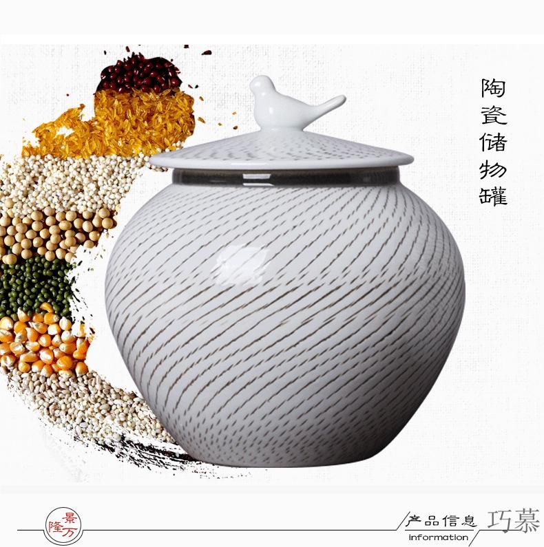 Qiao mu jingdezhen ceramic barrel throwing 20 jins 30 jins variable glaze grain storage tank ricer box meter box meter box