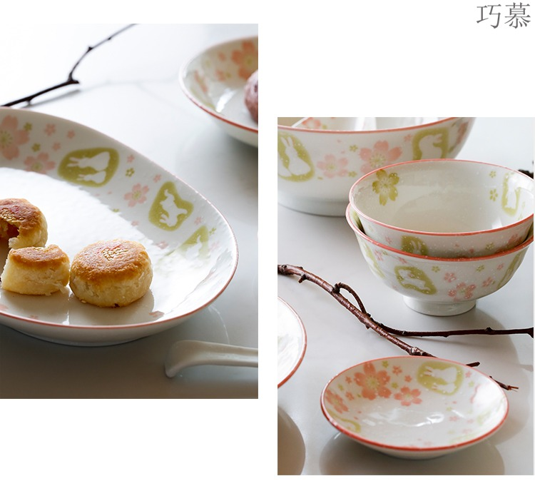 Qiao mu Japanese moon rabbit LH household ceramic dishes home dishes suit rice bowls FanPan tablespoon fish plate tableware