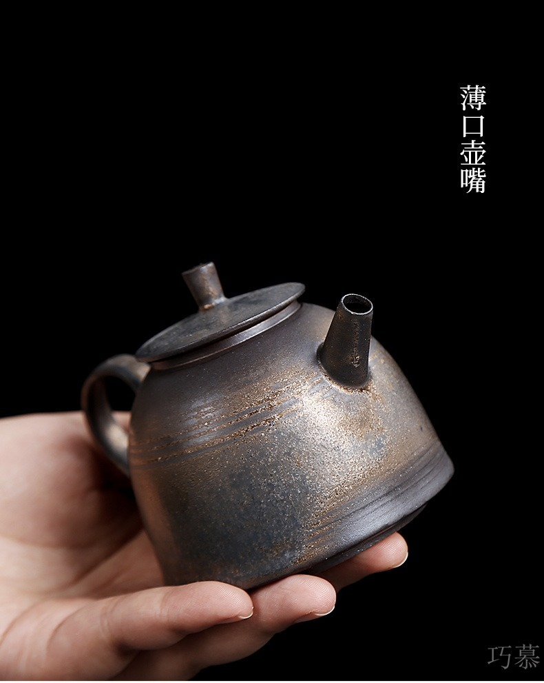 Qiao mu PMZ rust glazed pottery pot of restoring ancient ways is the pot of gold side a Japanese coarse pottery imitation copper teapot kung fu tea set home