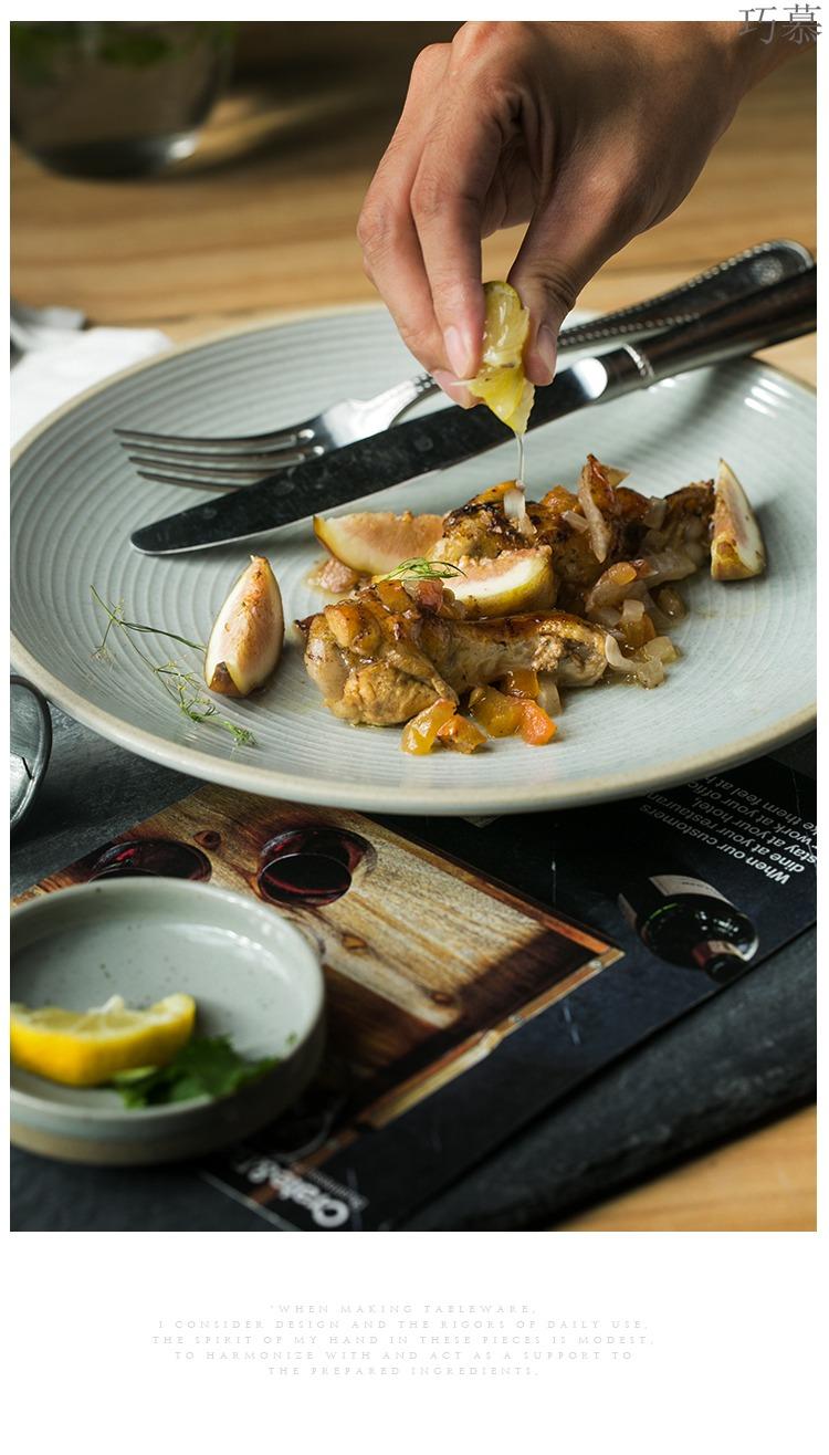 Qiao mu DY creative ceramic shire thread the market of kitchen utensils breakfast steak pan west pot dish tray plates