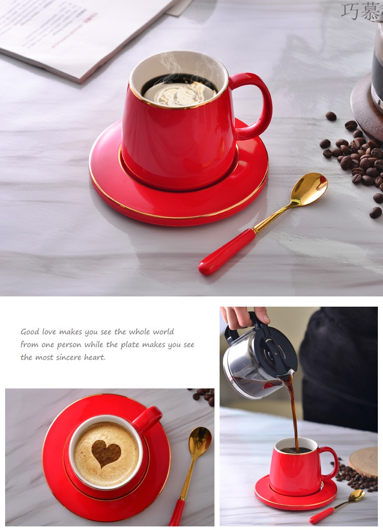 Qiao mu European ceramic coffee cup set ideas with supporting office with a spoon, keller household glass cup
