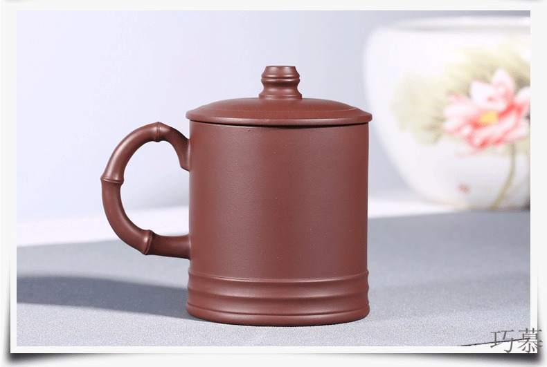 Qiao mu HM new yixing purple sand cup by pure manual undressed ore decals name plum flower cups cup purple sand tea cups