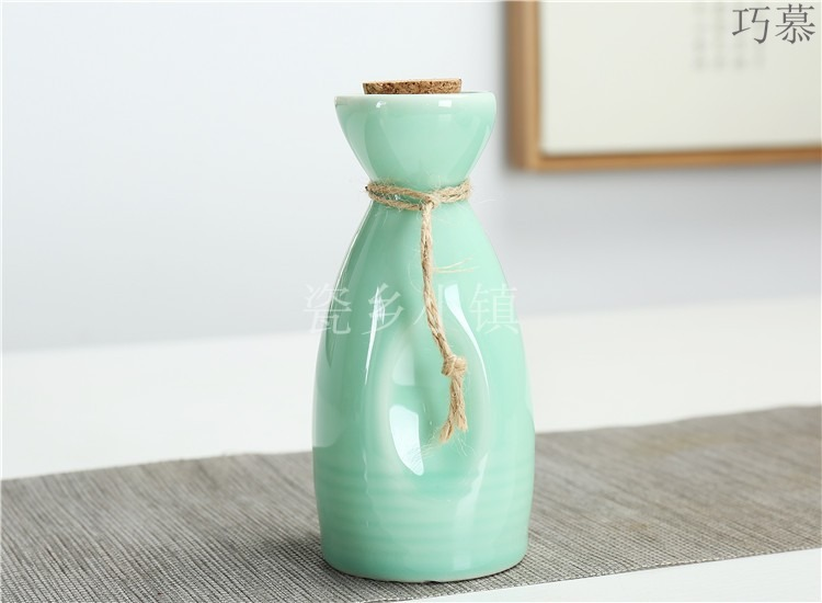 Qiao mu three two antique high - temperature stoneware bottle wine vintage black wine points temperature wine pot with cover bag in the mail