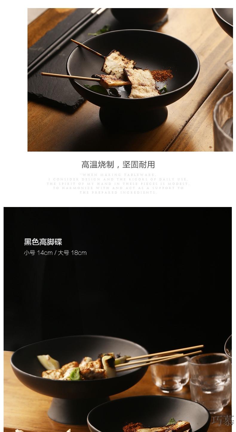 Qiao mu creative Japanese ceramics high dish home snack dish restaurant dish pastry dishes dessert dish bowl